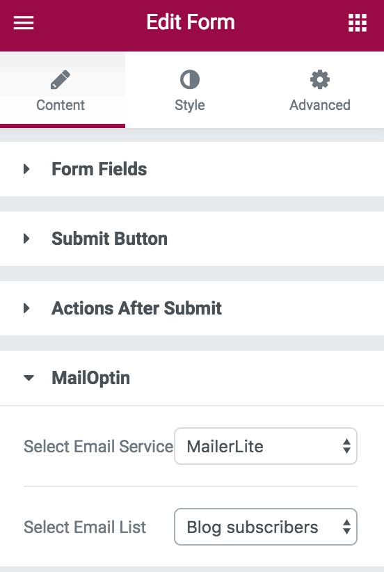 MailOptin actions after submit