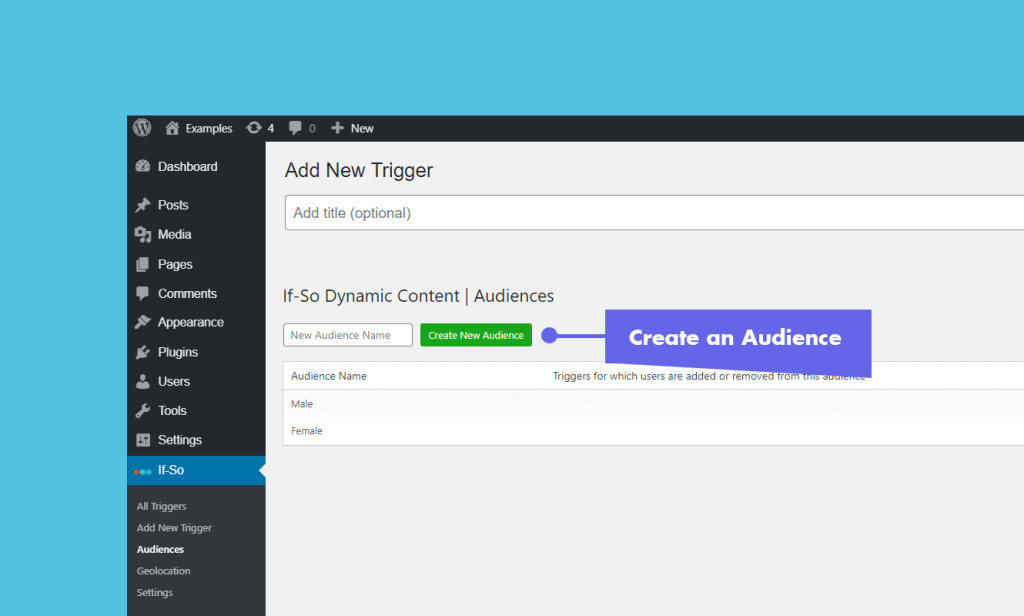 Create an audience - If-So Dynamic Content